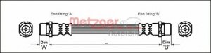 Metzger 4112828           Шланг торм задн Opel Astra G Zafira A м+м