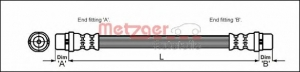 Metzger 4114774 Шланг тормоз.пер. A-4,6 B-5  A-100/A6 90--97 A80 92-94 295 м+м m